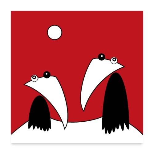 Raving Ravens - on mount fuji - Poster 60 x 60 cm