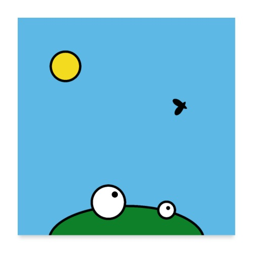 Hungry Frog - lunch time - Poster 60 x 60 cm