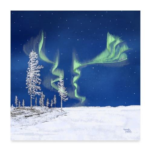 winter met noorderlicht - Poster 60 x 60 cm