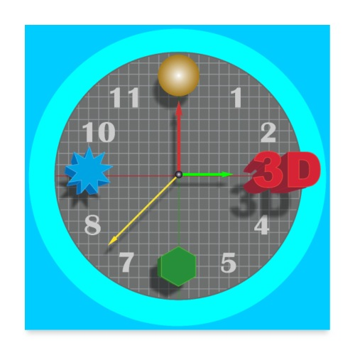 3D O' Clock with Objects - Blue/Blue, Poster - Poster 24 x 24 (60x60 cm)