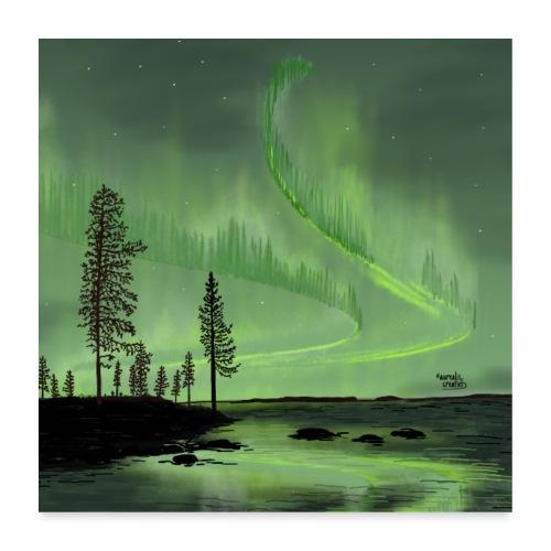 Réflexion des aurores boréales - Poster 60 x 60 cm
