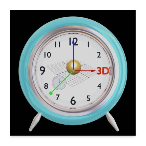 3D O' Clock with Sphere, 3D model, F/View, Poster - Poster 24 x 24 (60x60 cm)