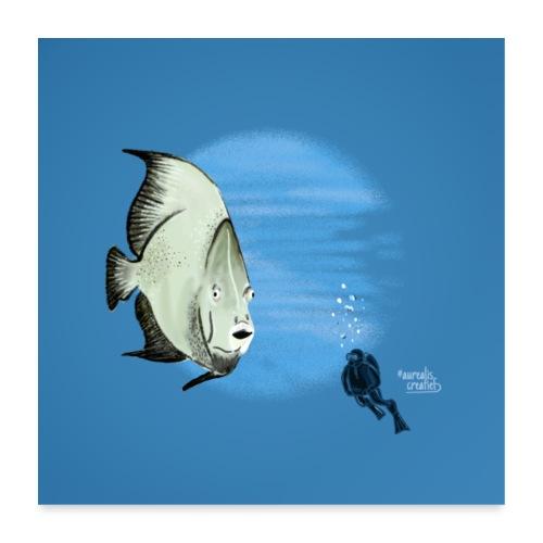 Selfie fish - Poster 60 x 60 cm