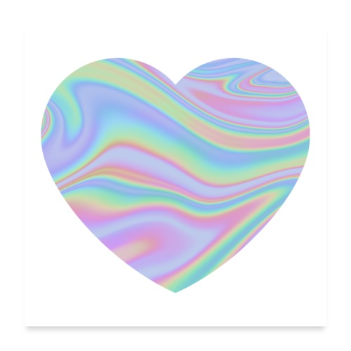 Rainbow Holographic Heart - Poster 60x60 cm