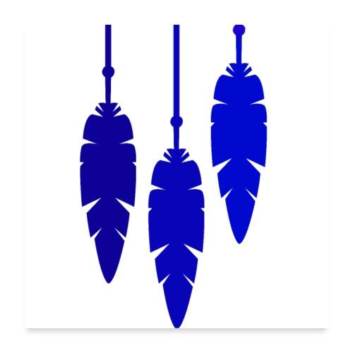 Plume hippie bleu marine - Poster 60 x 60 cm