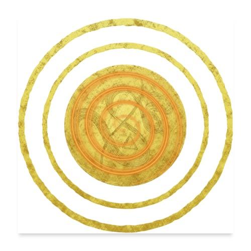 Glückssymbol Sonne - positive Schwingung - Spirale - Poster 60x60 cm