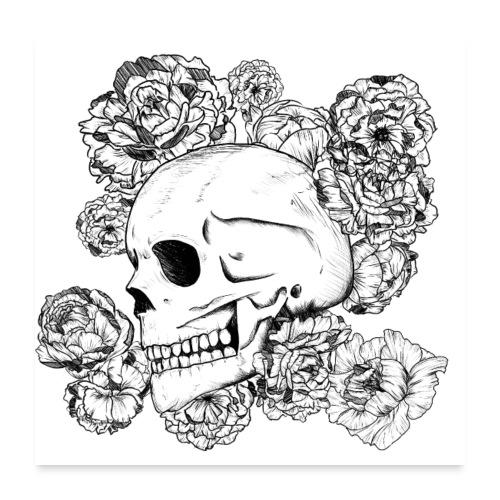 Teschio con fiori, disegno in inchiostro nero - Poster 60x60 cm