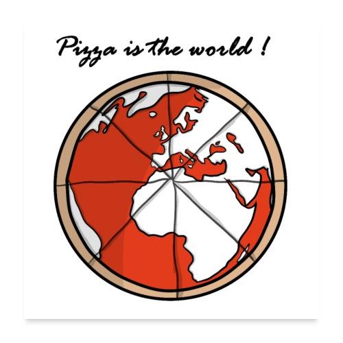 Mondo a forma di pizza - Poster 60x60 cm