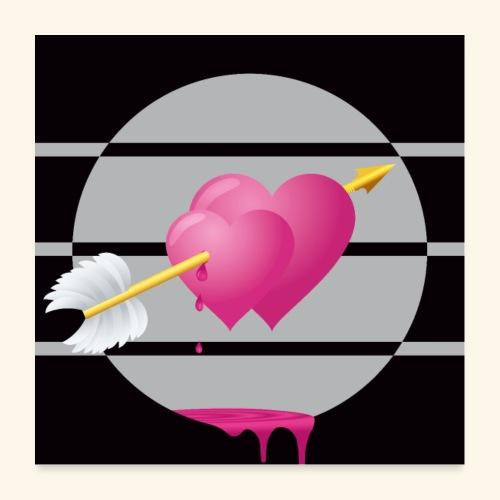 Für immer miteinander verbundene Herzen Poster - Poster 60x60 cm
