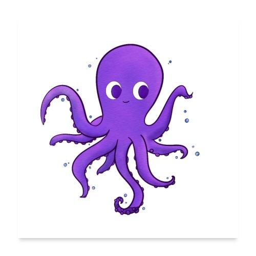 Little purple Octopus, baby nursery wall art decor - Poster 60x60 cm