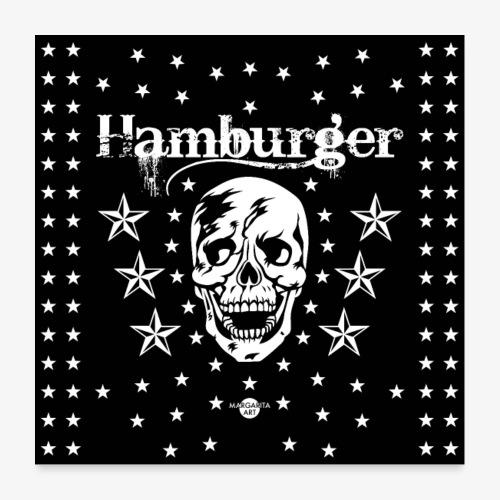 05 Hamburger Totenkopf Sterne Maske - Poster 60x60 cm