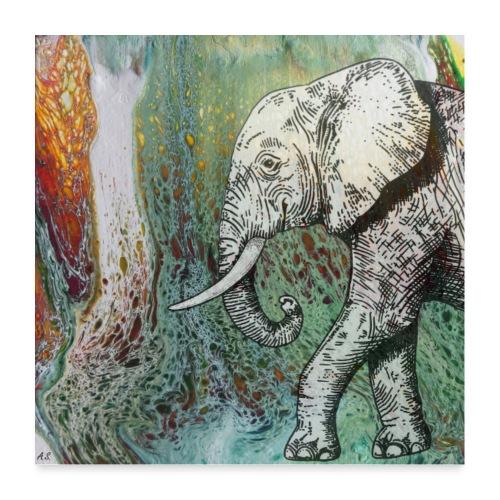 AfrikaElefant auf Pouring Hintergrund - Poster 60x60 cm