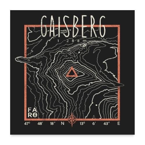 Gaisberg Contour Lines - Pitch Black - Poster 24 x 24 (60x60 cm)