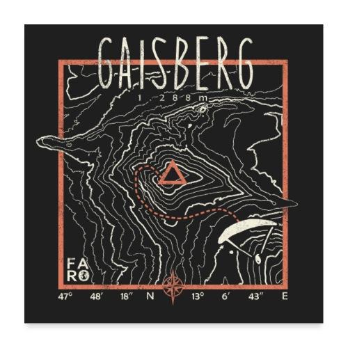 Gaisberg Paragliding Contour Lines - Pitch Black - Poster 24 x 24 (60x60 cm)