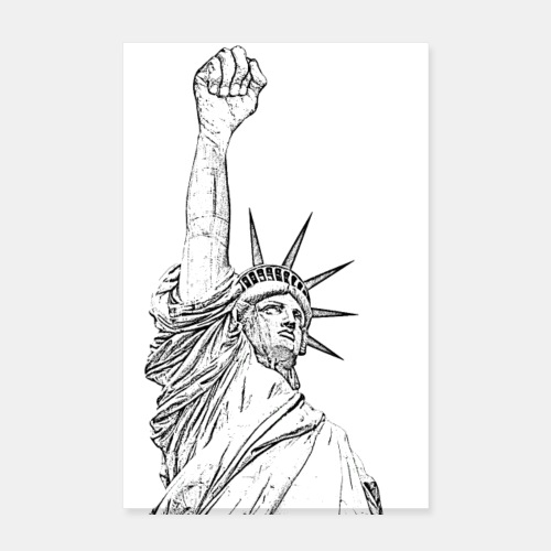 Statue of Liberty, fist held high - Póster 20x30 cm