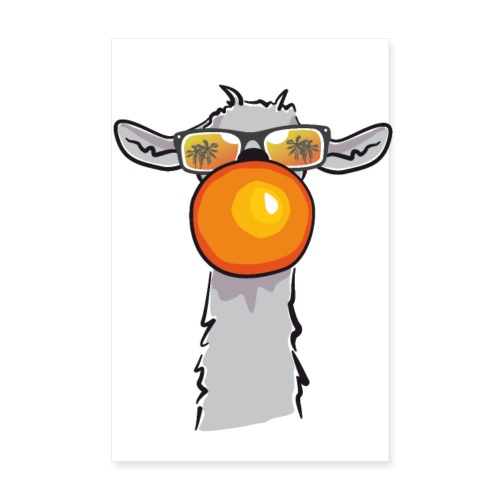Chewing Llama - Poster 20x30 cm