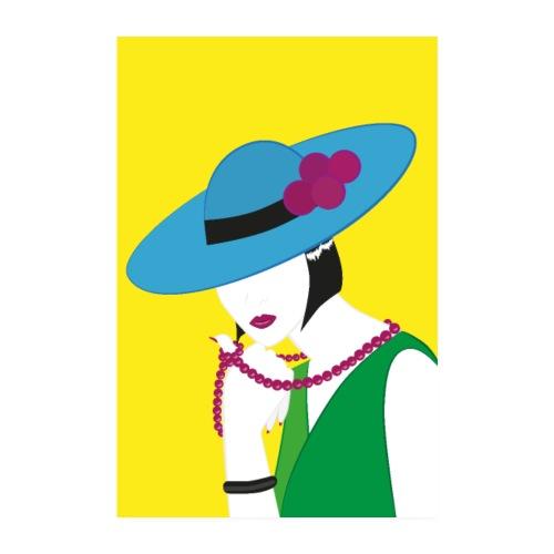 Elegante Madame in Grün und Blau - Poster 20x30 cm