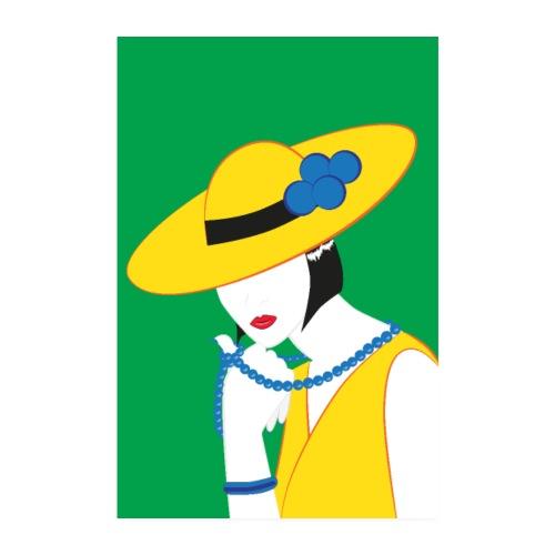 Elegante Madame in Gelb - Poster 20x30 cm