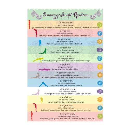 Yoga Sonnengruss mit Mantren Yogapraxis am Morgen - Poster 20x30 cm