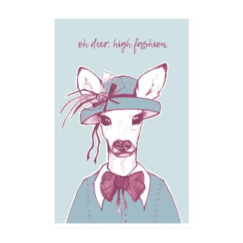 Oh Deer – Blau - Poster 20x30 cm