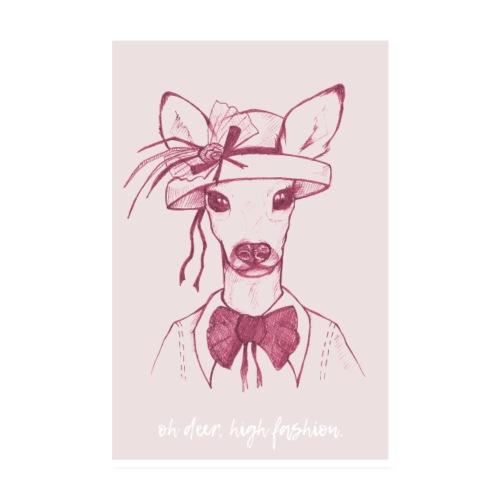 Oh Deer – Rosa - Poster 20x30 cm