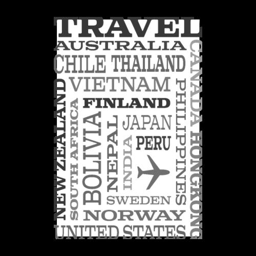 Travel Places Gray design - Juliste 20x30 cm