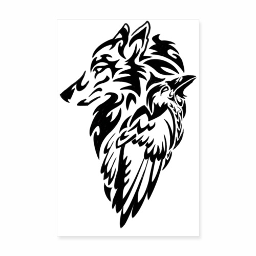wolf and raven - Poster 20x30 cm