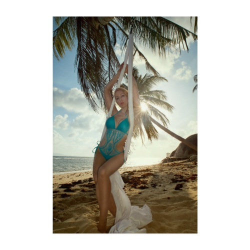 Girl With White Silks at an Abandon Beach - Poster 20x30 cm