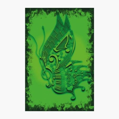 music butterfly gru n 2 - Poster 20x30 cm