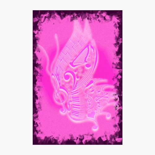 music butterfly pink 2 - Poster 20x30 cm
