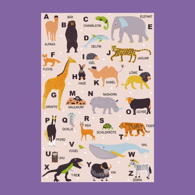 ABC Poster Tiere | Poster 20x30 cm