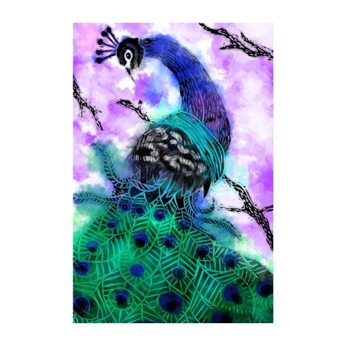 watercolour peacock - Poster 8 x 12 (20x30 cm)