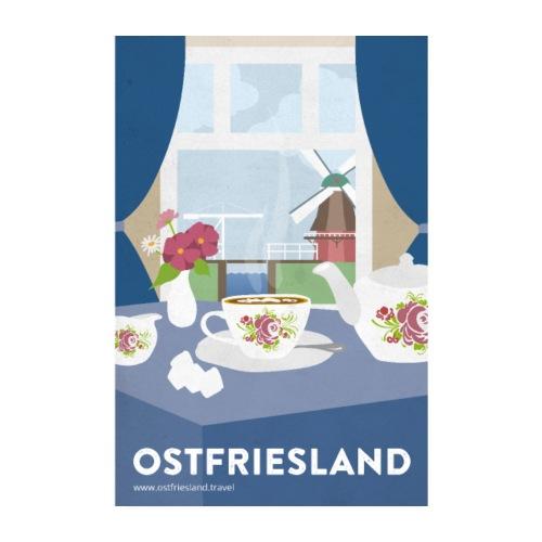 Ostfriesland Vintage Travel Poster - Tee und Mühle - Poster 20x30 cm