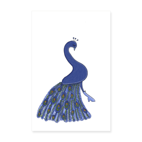 Blauer stolzer Pfau mit Stiefel - Poster - Poster 20x30 cm