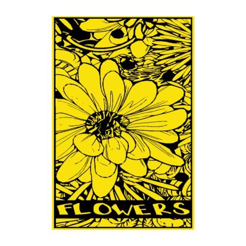 bloem geel zwart - Poster 20x30 cm