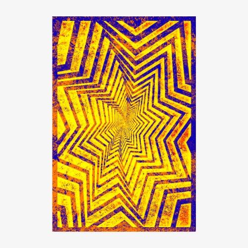Kolorowa Gwiazda Grunge - Plakat o wymiarach 20x30 cm