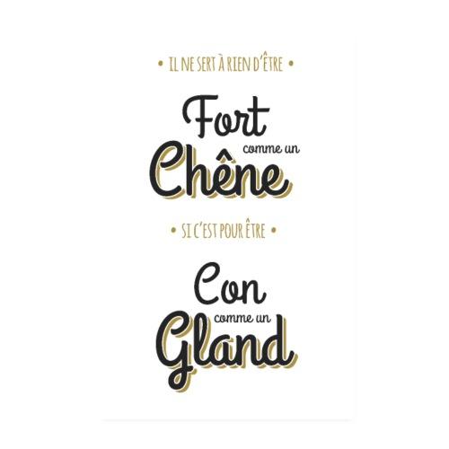 Poster Fort comme un chêne, Con comme un gland - Poster 20 x 30 cm