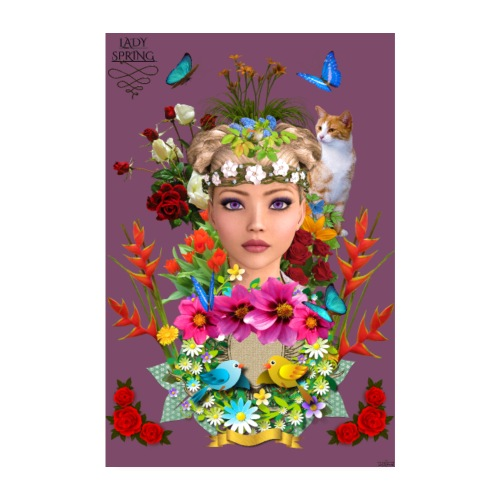 Poster - Lady spring - couleur vin - Poster 20 x 30 cm