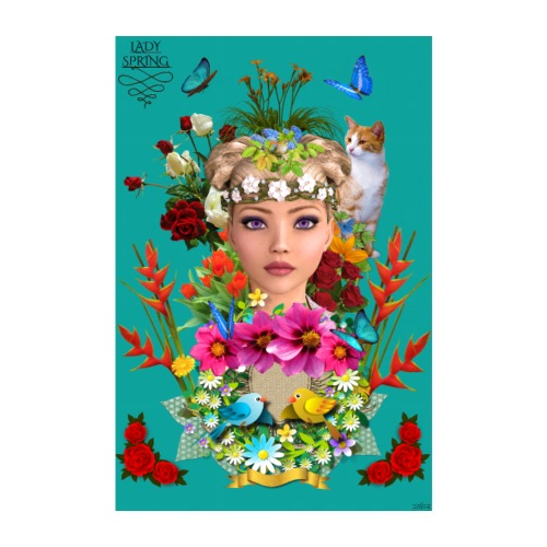 Poster - Lady spring - couleur bleu ocean - Poster 20 x 30 cm