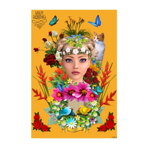 Poster - Lady spring - couleur orange - Poster 20 x 30 cm