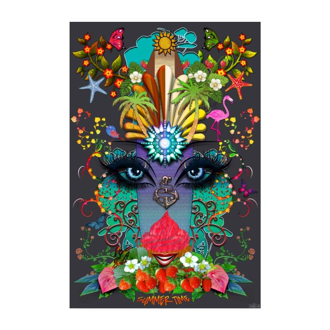 Poster - Summer Time - couleur gris ardoise