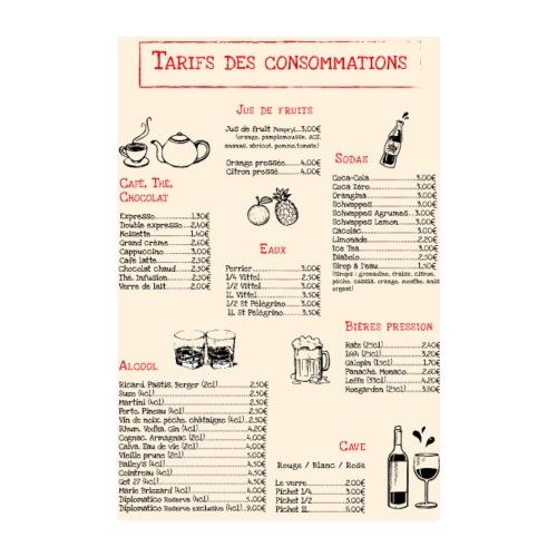 Tarif des consommations - Poster 8 x 12 (20x30 cm)