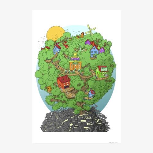 Maisons dans les arbres - Poster 20 x 30 cm