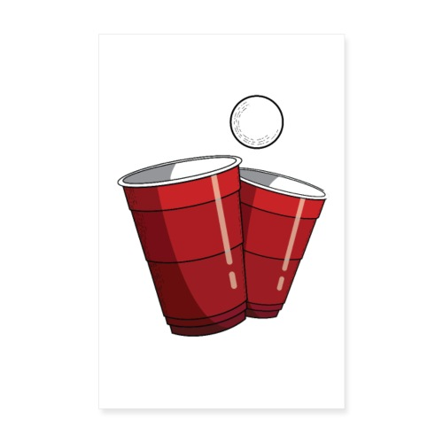 Beerpong Red Cups Poster - Poster 20x30 cm