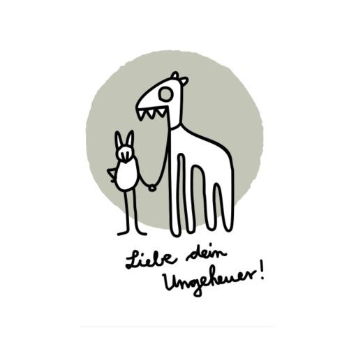 LIEBE DEIN UNGEHEUER grau Für Pärchen und Yogis - Poster 20x30 cm