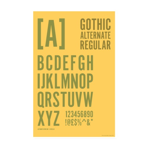 Gothic Alternate Regular Typography Poster - Poster 8 x 12 (20x30 cm)