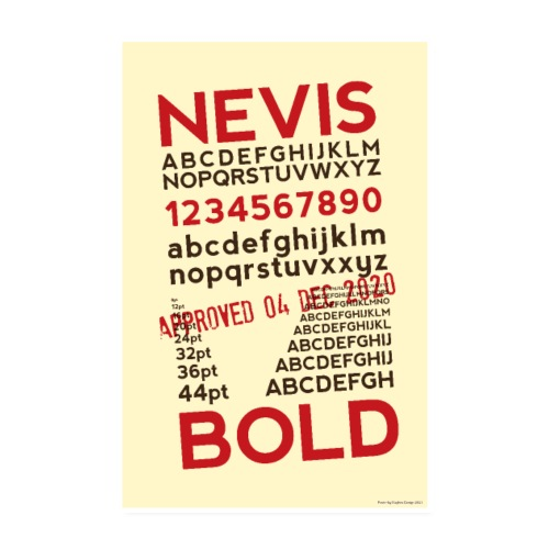Nevis Bold Typography Poster - Poster 8 x 12 (20x30 cm)
