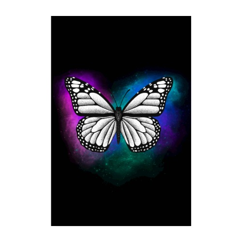 Butterfly dotwork colorful on black - Poster 20x30 cm