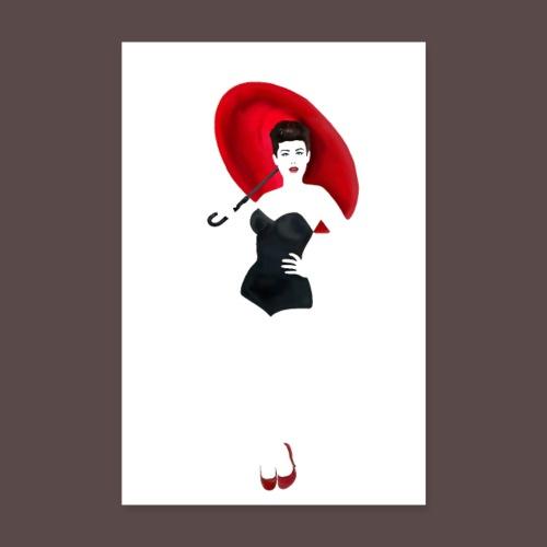 Pin up - Red Umbrella - Poster 20x30 cm