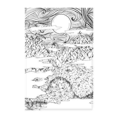 doodle montagna, disegno scena naturale notturna - Poster 20x30 cm